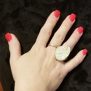 Textured faux rock stretch band ring